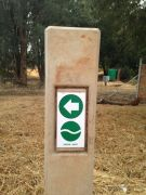 Green Route marker: follow the arrow